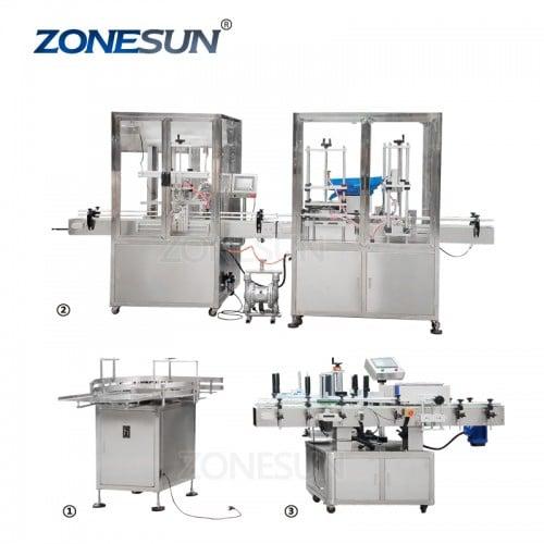 Máquina de etiquetado de llenado y llenado automático completo de ZONESUN para la cadena de producción