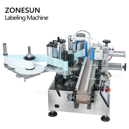 ZONESUN Automatic Desktop Double Side Round Bottle Labeling Machine With Printer