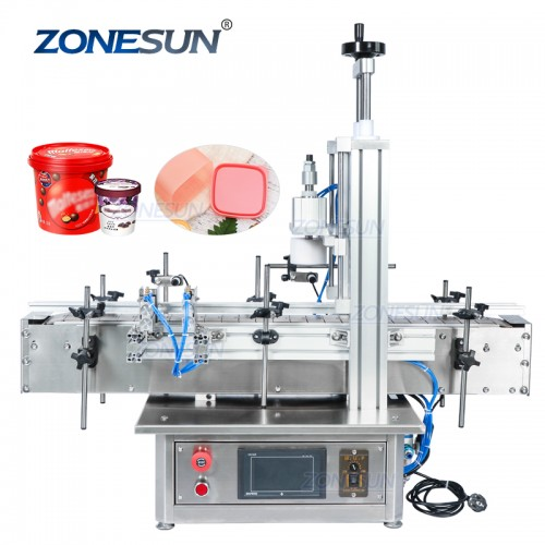 ZONESUN Pneumatic Tabletop Automatic Glass Bottle Cap Press Machine Jar Whisky Plastic Bottle Capping Machine